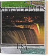 Niagara Falls Usa Triptych Series With Text Wood Print