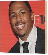 Nick Cannon At Arrivals For Time 100 Wood Print