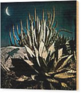 Night At The Desert's Edge Wood Print