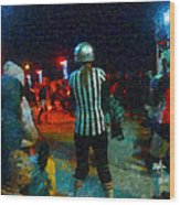 Night At The Roller Derby Wood Print