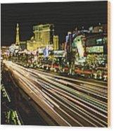 Night Exposure Of The Strip On Las Wood Print
