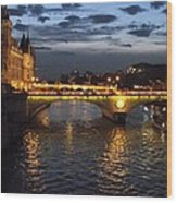 Night Fall Over The Seine Wood Print
