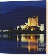 Night Falls On Eilean Donan Castle - D002114 Wood Print