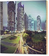 Night Fog Over Shanghai Cityscape Wood Print by Blackstation