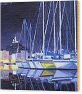 Night Harbor Wood Print