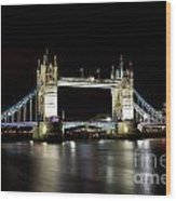 Night Image Of The River Thames And Tower Bridge Wood Print