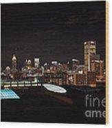 Night Lights Of Atlanta Wood Print