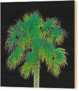 Night Of The Green Palm Wood Print
