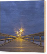 Night Pier Walk Wood Print