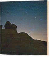 Night Sky Over Valley Of Fire Wood Print