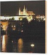 Night Time In Prague Wood Print