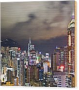 Night View Of Hong Kong Island Wood Print