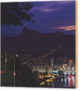 Night View Of Rio De Janeiro From An Wood Print