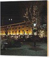 Night View Of St Katherines Dock London Wood Print
