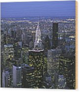 Night View Of The Manhattan Skyline Wood Print by Todd Gipstein
