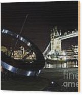 Night View Of The Thames Riverbank Wood Print