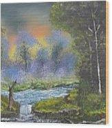 Night Waterfall Wood Print