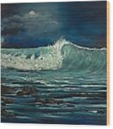 Night Wave Wood Print