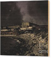 Nightfall Over Hard Time - San Quentin California State Prison - 5d18454 - Partial Sepia Wood Print