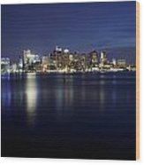 Nighttime Boston Skyline Wood Print