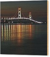 Nighttime Over Mackinac Straits Wood Print