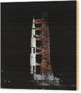Nighttime View Of The Apollo 13 Space Wood Print