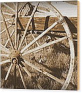 No Gas Needed Buggy Wheels Wood Print by Cindy Wright