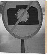 no photography sign at the greek cypriot army border post at the UN buffer zone cyprus green line Wood Print
