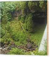 North Falls Waterfall Wood Print