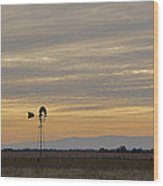 Northern California Windmill Wood Print