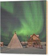 Northern Lights Above Village Wood Print