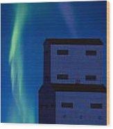 Northern Lights And Grain Elevator 2 Wood Print