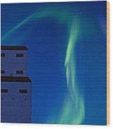 Northern Lights And Grain Elevator Wood Print