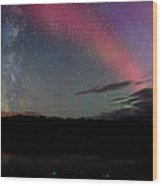 Northern Lights And The Milky Way Wood Print