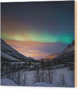 Northern Lights In Snow Valley Wood Print