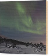 Northern Lights Over A Meadow Wood Print