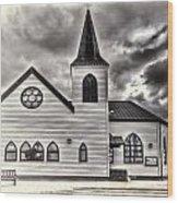 Norwegian Church Cardiff Bay Cream Wood Print