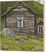 Norwegian Timber House Wood Print
