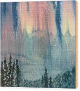 Nothern Lights Country Wood Print