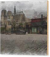 Notre Dame 1 Aquarell  Wood Print