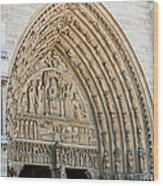 Notre Dame Cathedral Right Entry Door Wood Print