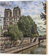 Notre Dame On The Seine Wood Print