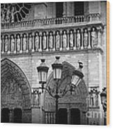 Notre Dame With Luminaires Wood Print