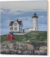 Nubble Light At Dusk Wood Print