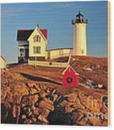 Nubble Light Sunset Wood Print by Catherine Reusch Daley