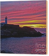 Nubble Lighthouse Wood Print by Scott Moore