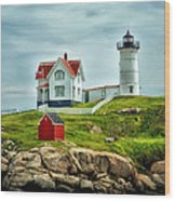 Nubble Lighthouse Wood Print by Tricia Marchlik