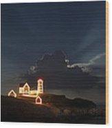 Nubble Lights Wood Print