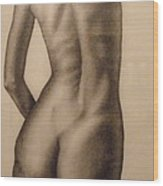 Nude Female Study Of Back Wood Print by Neal Luea