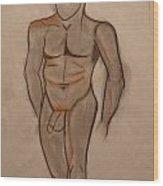 Nude Male Drawing Wood Print